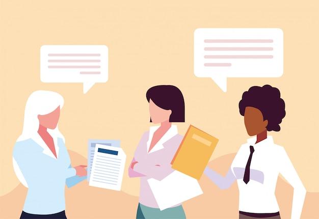 Donne d'affari nell'ufficio di lavoro, incontro sulla pianificazione globale e ricerche di mercato