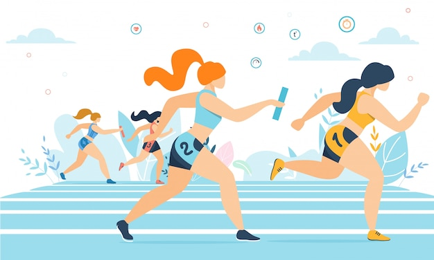 Donne del fumetto che partecipano alla corsa maratona