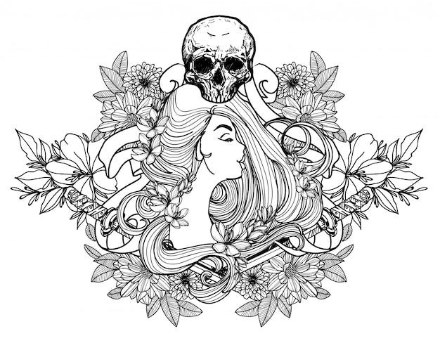 Donne del tatuaggio e schizzo del disegno della mano del fiore in bianco e nero