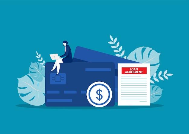 Donne di affari con carte di credito concetto di affari bancari