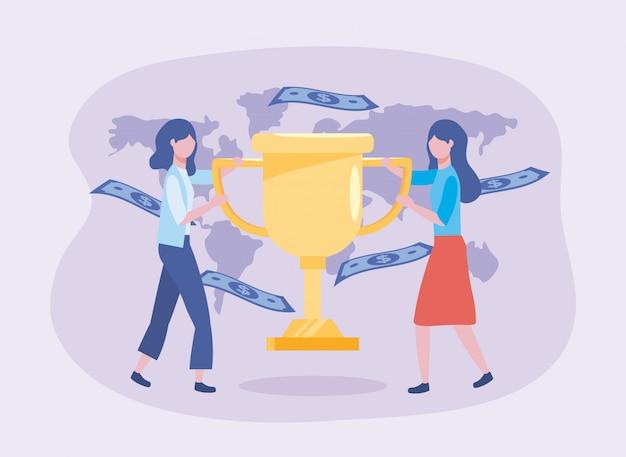 Donne di affari con il premio della tazza e fatture con la mappa globale