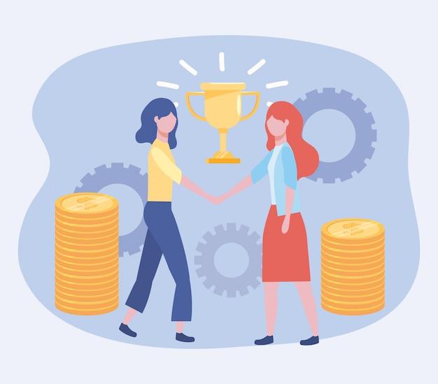 Donne di affari con il premio della tazza e monete con gli ingranaggi
