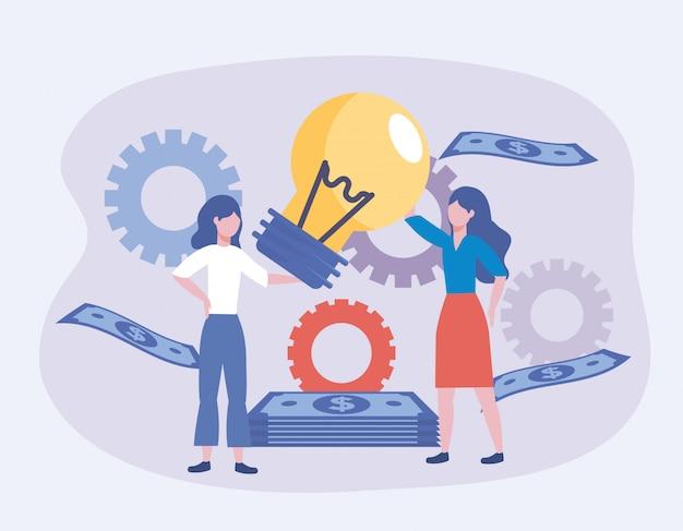 Donne di affari con l'idea e gli ingranaggi della lampadina con le fatture