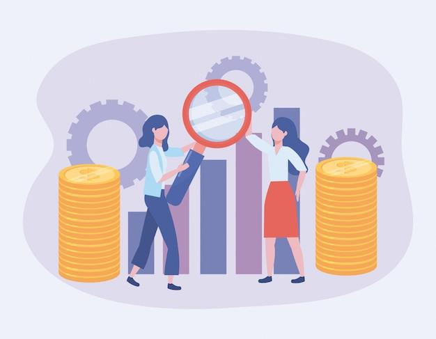 Donne di affari con la lente d'ingrandimento e la barra di statistiche
