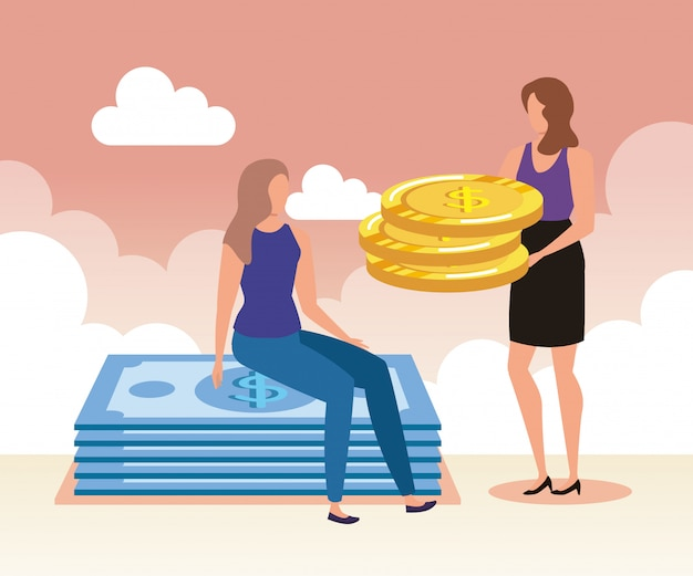 Donne di affari con monete e banconote in contanti
