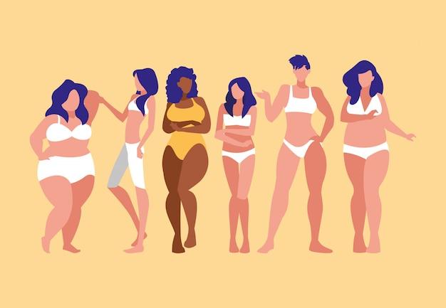 Donne di diverse taglie e razze che modellano biancheria intima