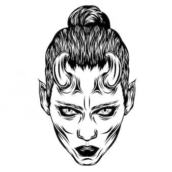 Donne di dracula con gli occhi abbagliati