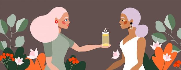 Donne e cosmetici. prodotto per la salute e la cura della pelle. due bellissimi personaggi femminili. design moderno disegnato a mano per poster e stampa. prodotti femminili naturali. liquido antibatterico.