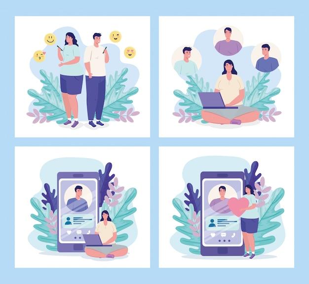 Donne e uomini con smartphone in chat