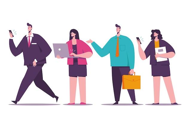 Donne e uomini d'affari con dispositivi
