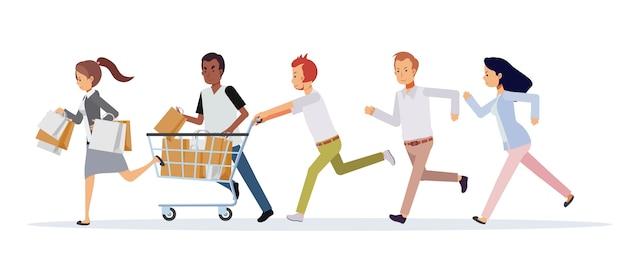 Donne e uomini si affrettano a correre ai saldi. concetto commerciale piatto di promozione e sconto. venerdì nero