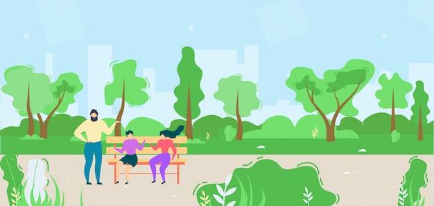 Donne ed uomo del fumetto che parlano nell'illustrazione del parco pubblico