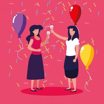 Donne felice festeggiamento personaggio avatar partito