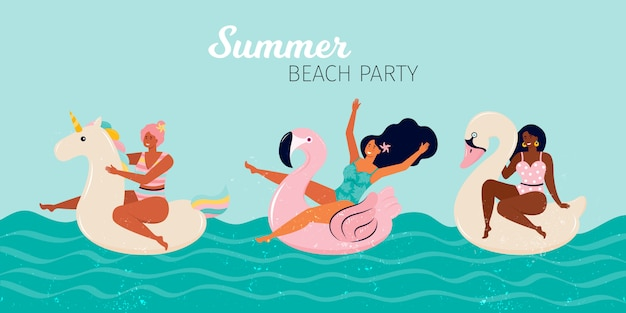 Donne felici ad una festa in spiaggia d'estate. le persone nuotano in piscina o in mare su galleggianti gonfiabili, fenicotteri, cigni, unicorni. banner orizzontale estate festa in piscina. illustrazione piatta disegnata a mano