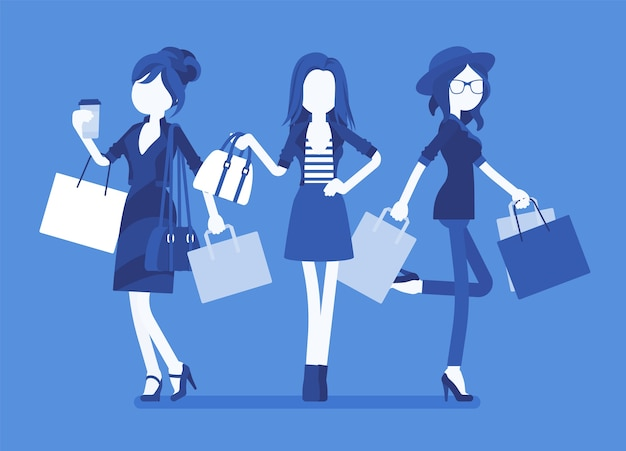 Donne felici dopo lo shopping in design piatto