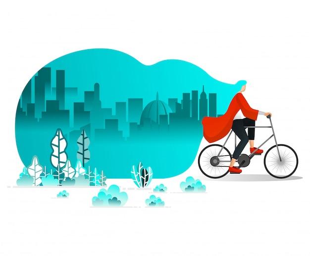 Donne in bicicletta intorno alla città