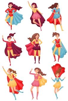 Donne in costume da supereroe rosso-blu. illustrazione su sfondo bianco.