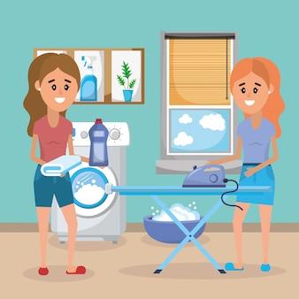 Donne in lavanderia