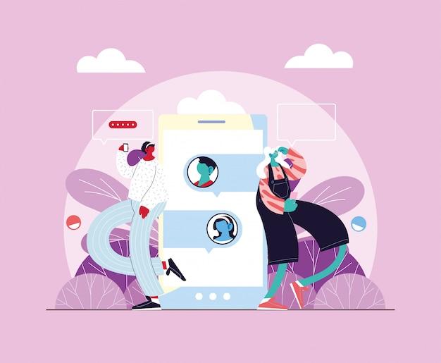 Donne in piedi con lo smartphone in chat, chat bolla