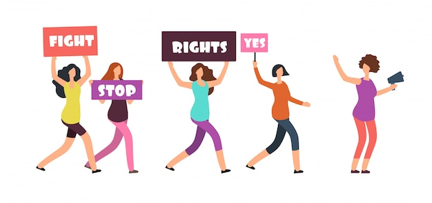 Donne manifestanti che camminano sulla manifestazione. femminismo, diritti delle donne e concetto di vettore di protesta
