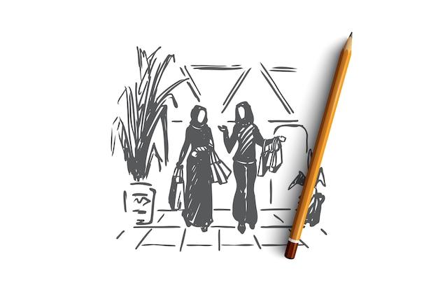 Donne musulmane disegnate a mano che fanno shopping nello schizzo di concetto del centro commerciale