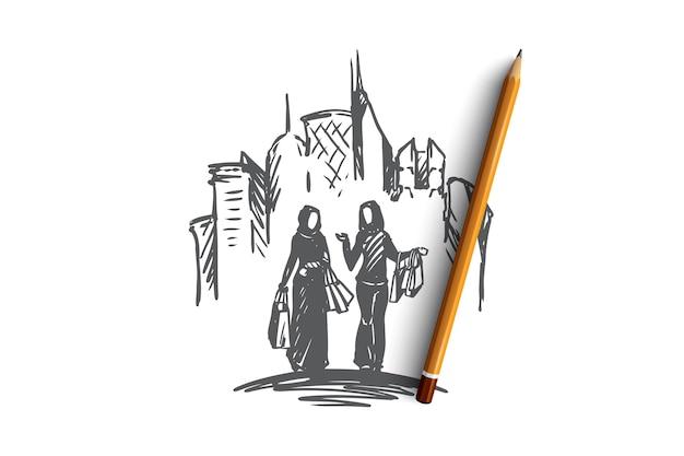 Donne musulmane disegnate a mano sullo schizzo del concetto di acquisto