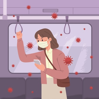Donne pendolari che usano la maschera per paura del virus corona