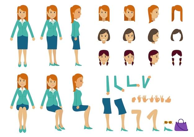 Donne simpatico cartone animato con molte pose