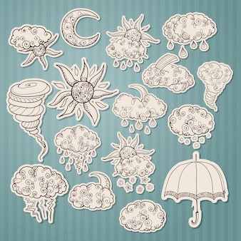 Doodle adesivi di previsioni del tempo