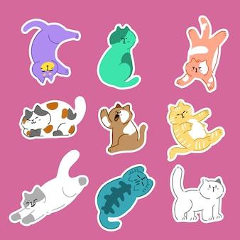 Doodle adorabile di vettore di gesto di posa b dei gatti. ideale per adesivi, decorazioni, stampe