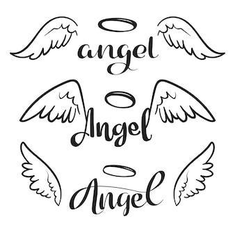 Doodle ali d'angelo volante con aureola. schizzo ali angeliche. libertà e disegno religioso di vettore del tatuaggio isolato
