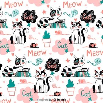 Doodle animali e parole modello