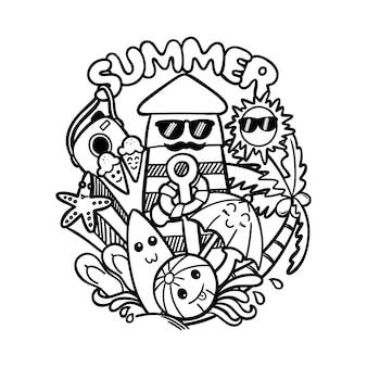 Doodle arte illustrazione estate con palline, tavole da surf, ancore, boe, sandali, ombrelli, stelle marine, gelati, macchine fotografiche, torri di guardia sulla spiaggia, sole, alberi di cocco