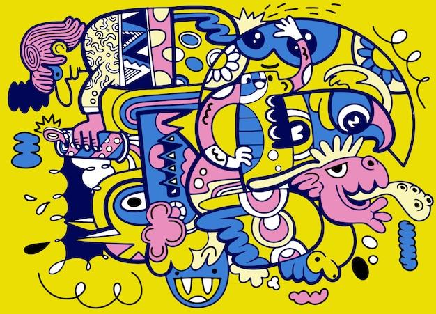 Doodle astratto pazzo sociale, stile di disegno di doodle. illustrazione