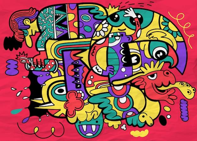 Doodle astratto pazzo sociale, stile di disegno di doodle.