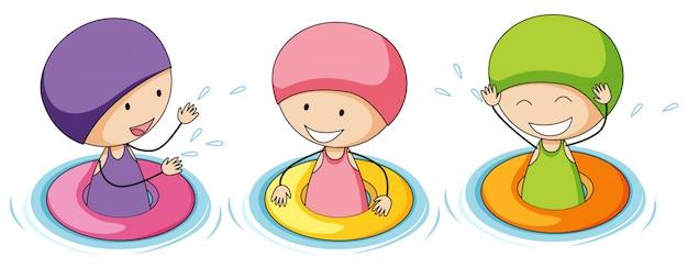 Doodle bambini che giocano in acqua