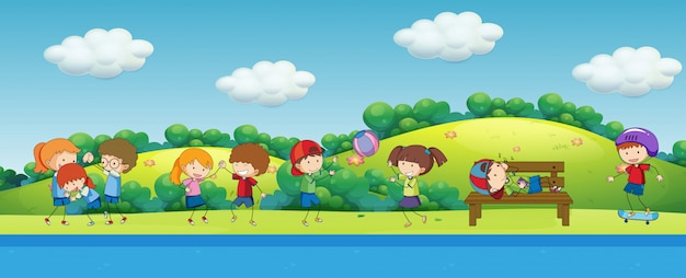 Doodle bambini che giocano nel parco