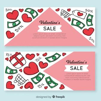 Doodle banner di vendita di san valentino