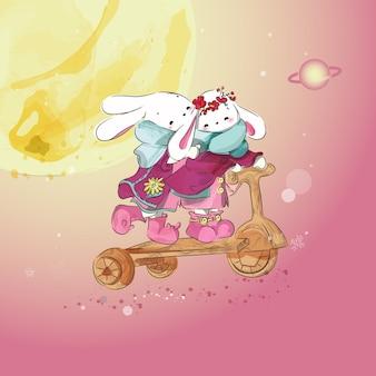 Doodle bunny pittura acquerello in floreale.
