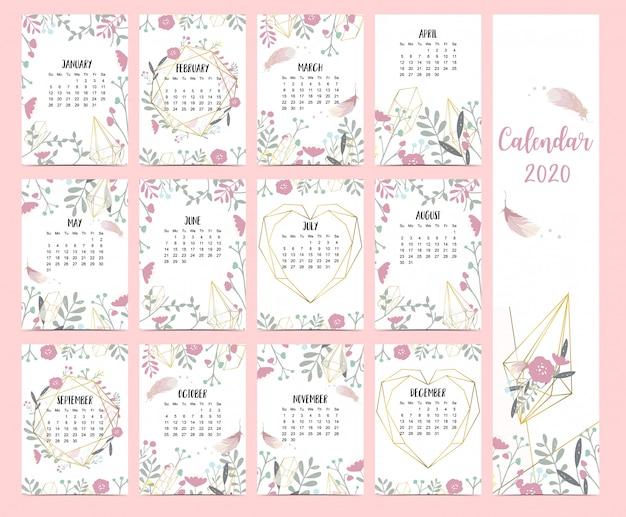 Doodle calendario pastello boho impostato 2020 con piuma