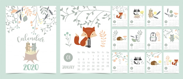Doodle calendario pastello bosco impostato 2020 con volpe