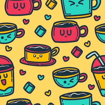 Doodle cartoon drink pattern