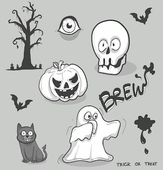 Doodle cartoon halloween