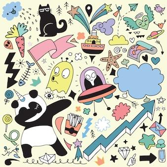 Doodle cartoon set di oggetti e simboli vol.3