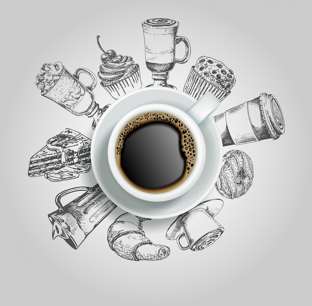 Doodle ciambella, torta, cupcake, croissant e bevande al caffè