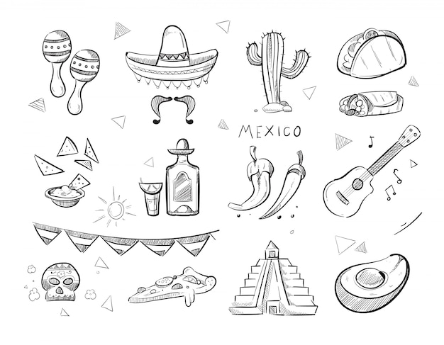 Doodle cibo messicano, tequila