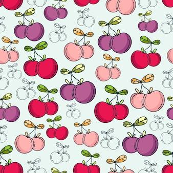 Doodle ciliegie e lychees pattern di sfondo