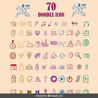 Doodle colorata collezione di icone