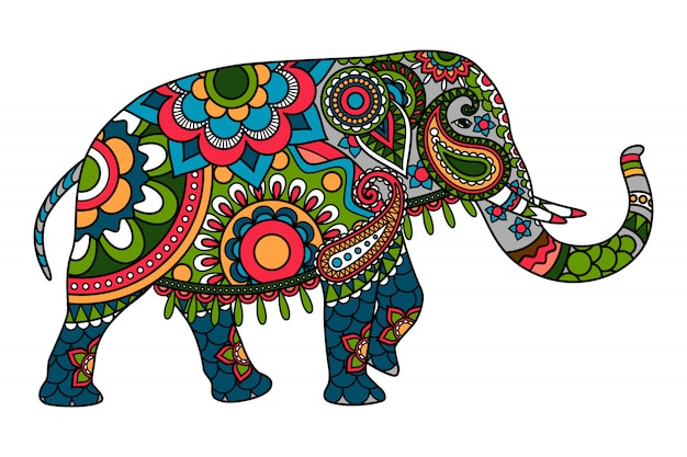 Doodle colorato elefante indiano