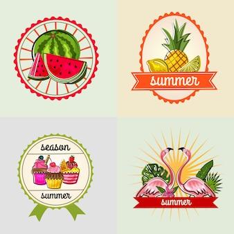 Doodle colorato stagione estiva distintivi